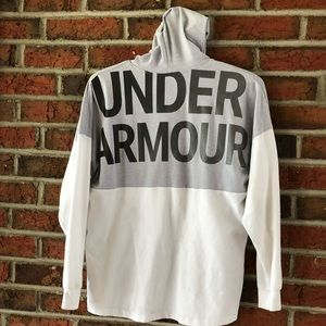 Under Armour Hooded Shirt + Girls + Gray White